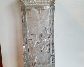 "Beautiful Crystal Vase. Vintage Heavy Flower Vase. 10.5"" Tall"