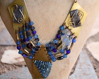 Blue Masai beaded Afrocentric chunky necklace,Exotic Blue African beaded necklace,African jewelry