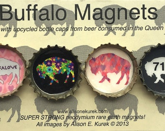 Buffalove 716 Buffalo Magnets - Buffalo Art - Bottle Cap Magnets - Gift Set of 4 -  Buffalo NY - Buffalo Gift - Pink and Gray 716
