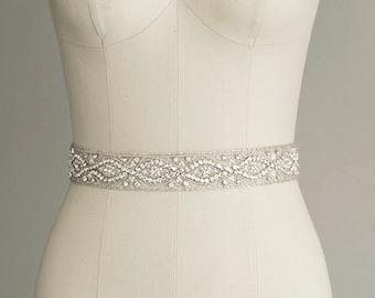 CATHERINE - Crystal Bridal Belt Sash - Rhinestone wedding gown sash - Wedding Dress Belt