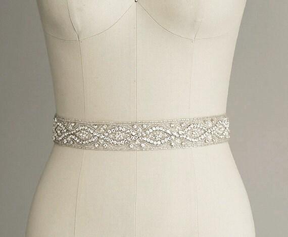 CATHERINE Crystal Bridal Belt Sash Rhinestone wedding gown