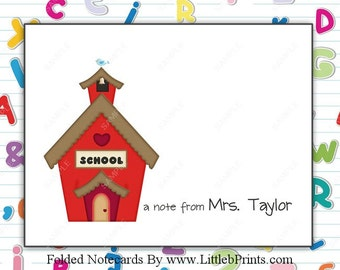 School Teacher School House Note Cards Set of 10 personalized flat or folded cards