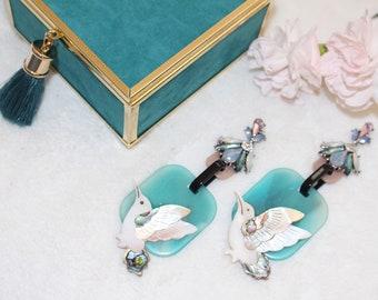 Hummingbird acrylic acetate rhinestone earrings