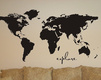 """My world Map Vinyl Wall Sticker Decal Art  explore the  World Map extra large 43 x 100""""Extra large"""