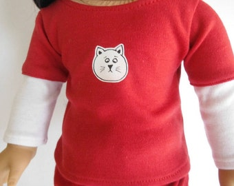18 inch doll clothes; Fits American Girl; Layered t-shirt; Graphic T