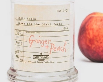 Ginger + Peach Scented Candle / Inspired by James and the Giant Peach / Part of North Ave Candles' Banned Books Collection