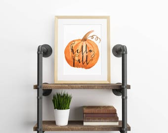 Fall Print, Fall Pumpkin Printable, Calligraphy Wall Art, Fall Decor, Fall Pumpkin Watercolor, Thanksgiving Print, Hello Fall Print