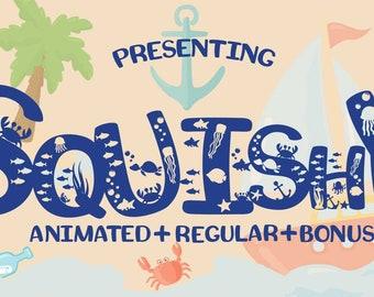 Squishy Craft Font, Typeface, Sans Serif, Cricut, Silhouette, Fun Font, Funky Font, Beach, Sea, Seahorse, Crab, Fish, Turtle, Squid.