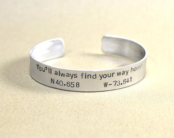 Latitude longitude bracelet to find your way home in aluminum or solid 925 sterling silver - BR493