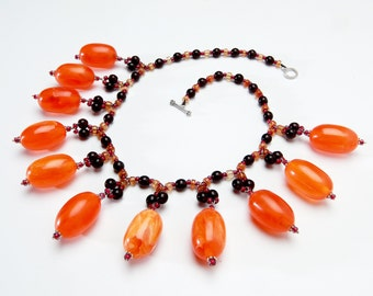 Big Orange and Purple Necklace with Giant Orange Resin Beads and Purple Czech Glass Beads