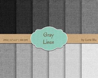 "Linen Digital Paper: ""Gray Linen"" gray textures, linen backgrounds for scrapbooking, invites, cardmaking,  linen canvas textures"