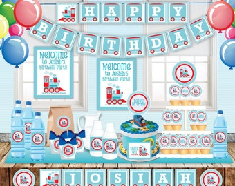Train Birthday Party, Customized printable invitation, DIY Party Decoration, blue and red