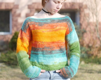 Sunny mohair sweater Rainbow colors sweater Teens Loose knit Mohair long sleeves sweater Spring Fall  sweater