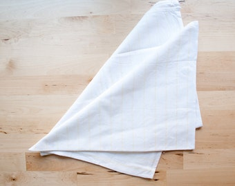 Vintage White and Yellow Wide Pinstriped Kitchen Towels