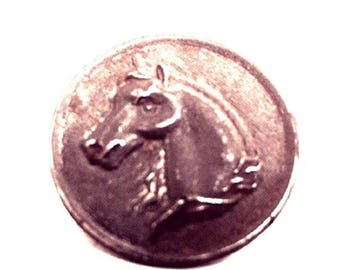 Vintage Horse picture button of 1880's Morgan style Horse.