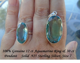 Natural 42 ct Oval Cut Aquamarine Ring & Pendant Set