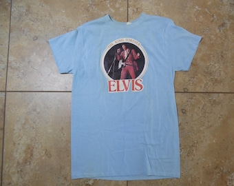 Vintage 1977 ELVIS T-SHIRT The King Forever Front Graphic Light Blue Ched Brand Made in the USA Fits like Small (Please Check Measurements)