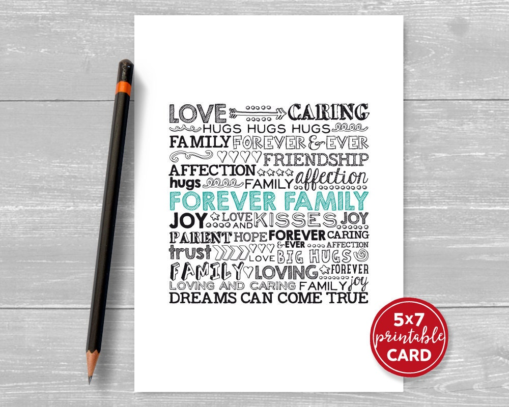 Printable Adoption Card Forever Family Text Card Dreams