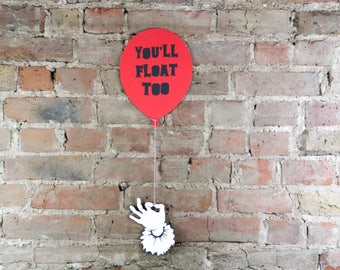 Pennywise Party Decoration, wall art, Stephen King it, Horror decor, Killer Klown, we all float down here