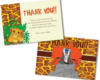 Lion King Thank You Cards, Baby Shower Thank You Cards, Lion King Thank You Notes, Thank You Cards, Thank You Notes, Lion King Cards,