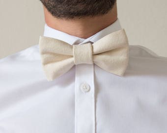 Adjustable woven off-white cotton adult bowtie / bow tie