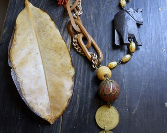 Alma & The World traveling Circus Chain. Vintage Wood and carved Bone Elephant, carved bone Camel, Vintage Circus Tokens, wooden chain links