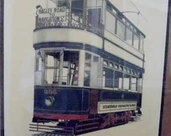 Original - Burmingham Corporation Tramsway 395 - Hagley RD. To Navigation St - Solid and Strong Colors - Framed with Glass
