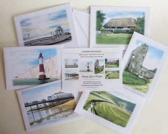 Notelets, Sussex Heritage Set, pack of 6