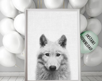 Woods Animals Poster, Wolf Print, Wolf Head Wall Art, Wild Animals, Minimalist Wolf Print, Printable Peekaboo, Black and White Wolf Photo