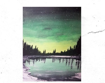 ORIGINAL winter spring GALAXY Painting on canvas pine trees northern Ontario landscape gift large wall art aurora sky northern lights green