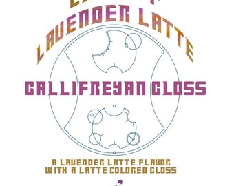 CLEARANCE! Lift Off Lavender Latte Gallifreyan Gloss - Lavender Latte Flavored / Shimmering Latte Colored Lip Gloss - Doctor Who Inspired