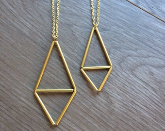 geometric brass necklace, triangles, two sizes