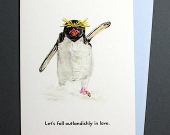 Valentine card - Macaroni Penguin - Let's fall outlandishly in love