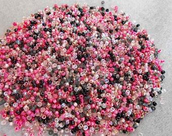8/0 Miyuki Seed Bead Mix, 25 grams, Rose/Crystal/Pink/Black (0020)