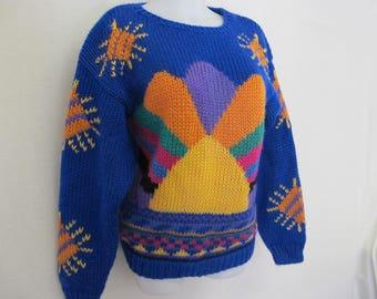 1970 Sweater Rainbow Sweater Ski Sweater Chunky Cropped