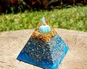 Turquoise Orgone Pyramid - Spiritual Gift - Feng Shui Decor - EMF Protection - Yoga Meditation Aid - Throat Chakra Healing