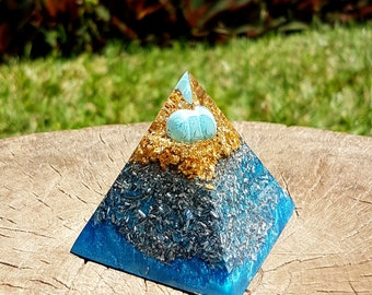 Turquoise Orgone Pyramid - Spiritual Gift - Feng Shui Decor - EMF Protection - Yoga Meditation Aid - Throat Chakra Healing