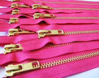Wholesale metal teeth zippers, FIVE pcs, hot pink 9 inch brass zippers - YKK color 516