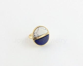 Multistone Ring,Turquoise and Lapis Ring,17mm Ring