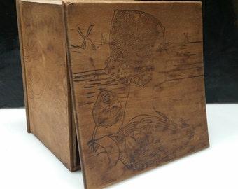 VERY antique Trinket box tulip n danish burnish decoration solid wood