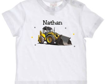Backhoe baby personalized with name t-shirt