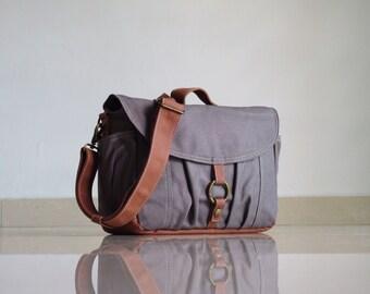 BIG Sale - Koi-S / Hand Waxed,  Grey Canvas Camera / Vegan Dslr Camera Bag / Mirrorless Bag / Canvas Camera Bag