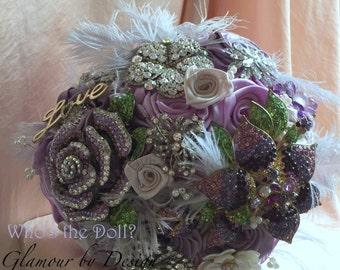 Gatsby bouquet/Brooch bouquet/Art Deco Wedding bouquet/bridal bouquet/Fabric bouquet/Vintage style bouquet/My Sweet Violet/Made to Order