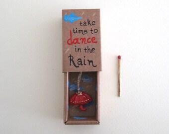 Take time to dance in the rain, shadow box, diorama, Matchbox art, Rain lovers gift, Dancers gift