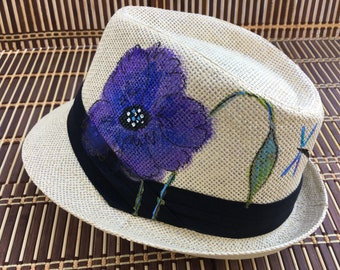 Hand-Painted Fedora Trilby - Purple Poppy Design - Wearable Art