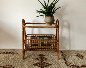 Mid Century newspaper stand side table made of bamboo with a glass plate