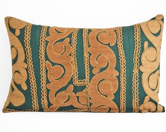 Vintage Suzani Embroidered Pillow Cover 12x20, Suzani throw pillow covers,Uzbek suzani pillows, Pillow Cover, Suzani Throw Pillows, Suzani