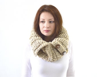 Knit Buttoned Chunky Cowl Scarf Neck Warmer | The Turin