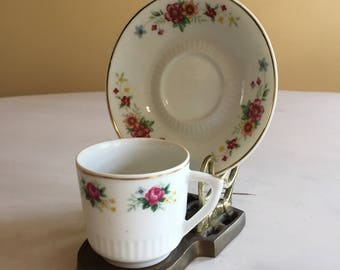 Floral Design Miniature Cup and Saucer on Brass Stand