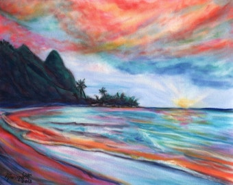 Kauai Bali Hai Sunset 8x10 print  from Kauai Hawaii peach pink teal blue orange purple